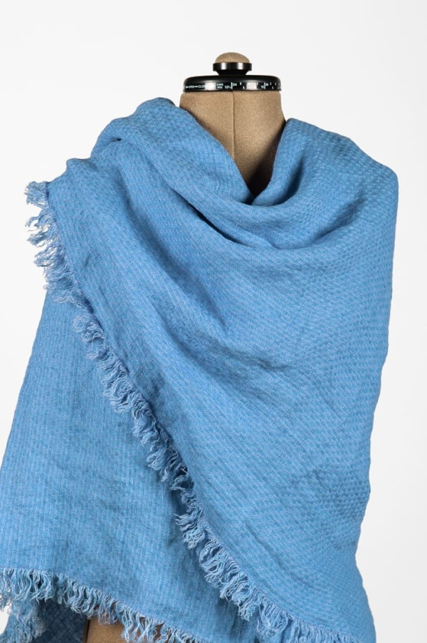 Linen wrap scarf in blue colour 1