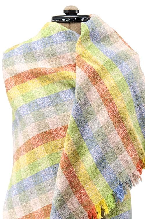 Colourful checked linen wrap scarf 1