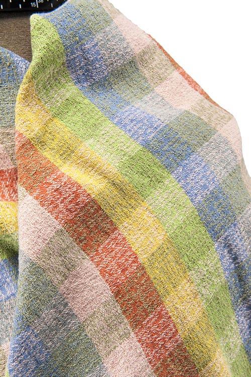 Colourful checked linen wrap scarf 2