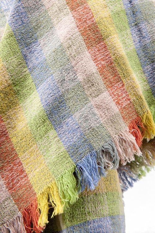 Colourful checked linen wrap scarf 3