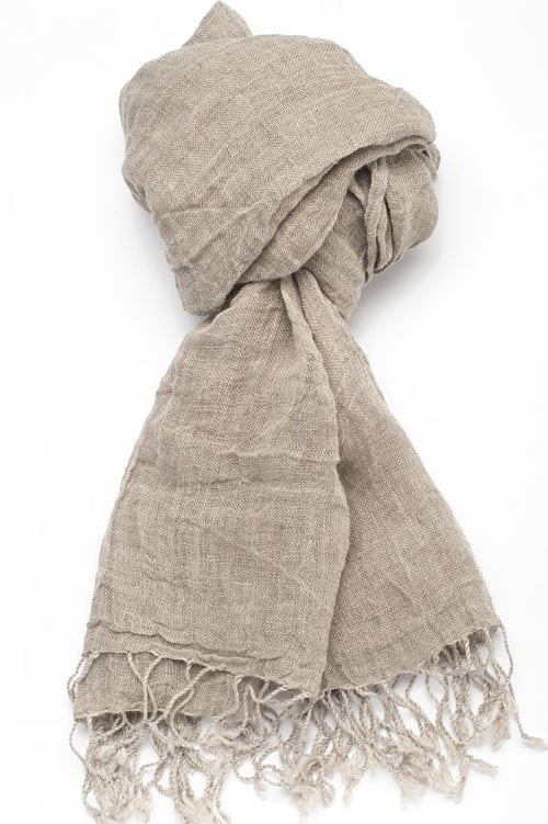 Grey linen shawl with twisted fringes 1