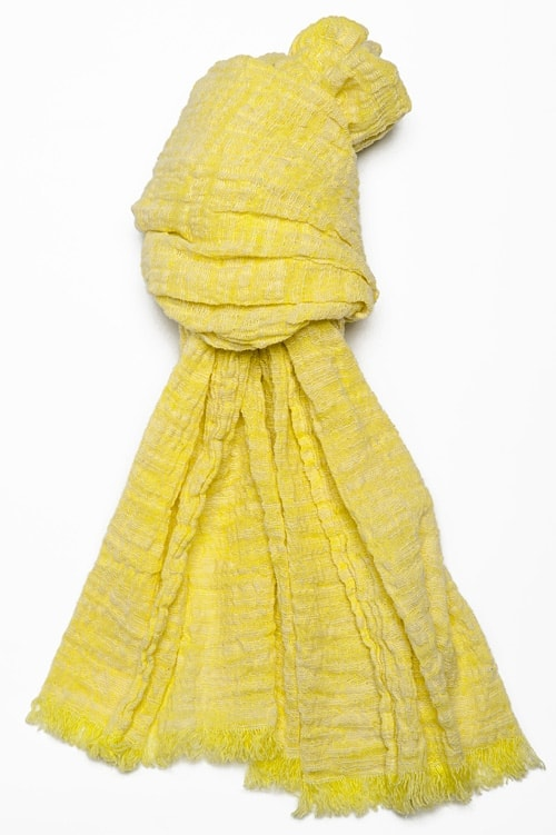 Yellow linen shawl with fringes 1