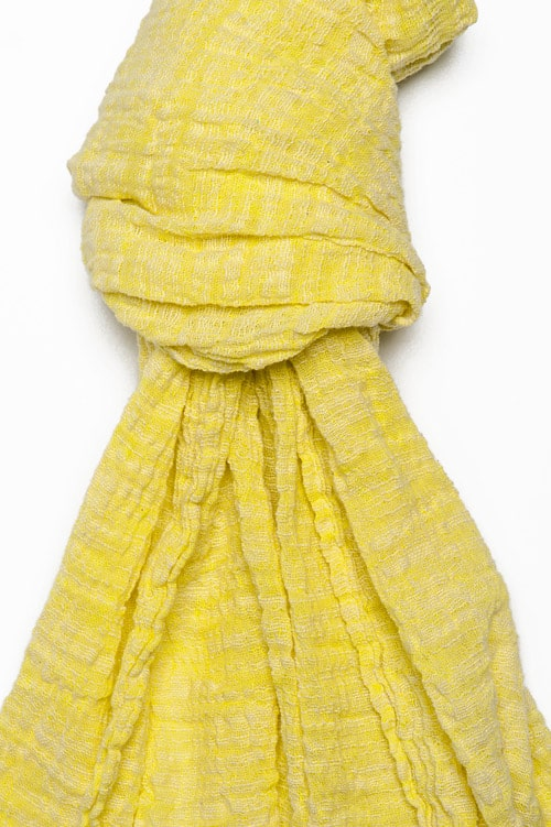 Yellow linen shawl with fringes 2