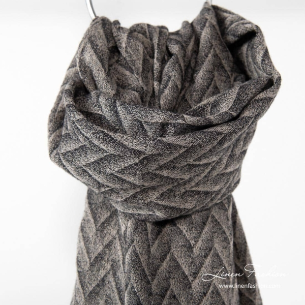 Linen wool shawl with gray black pattern 1