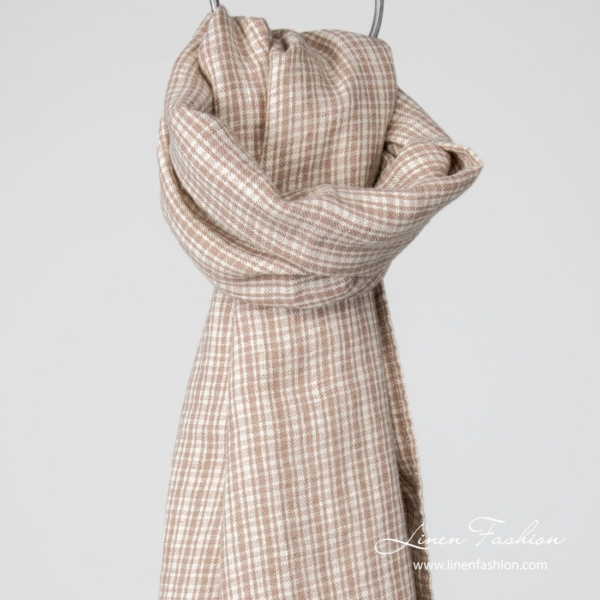 Linen wool shawl brown checks