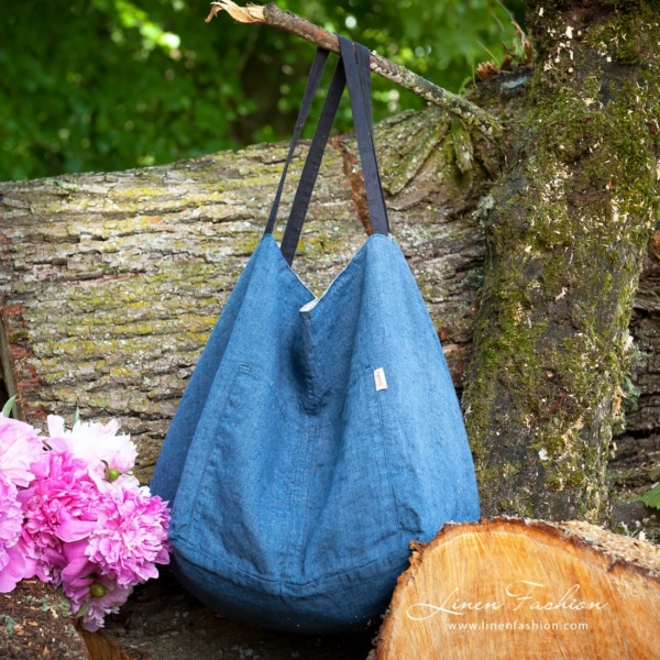 Linen two-sided bag, blue-grey 1