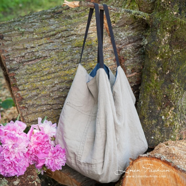 Linen two-sided bag, blue-grey 3