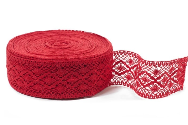 Red linen lace No. 25 1