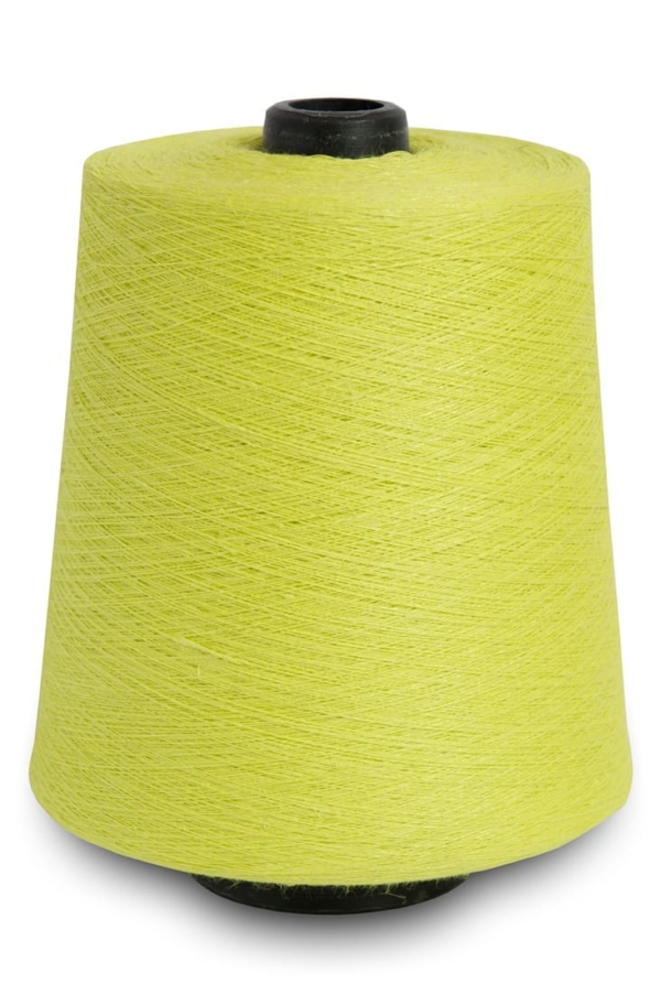 Linen yarns in neon yellow colour 6(23) 1