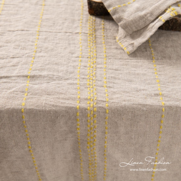 Washed linen tablecloth | Natural with yellow stripes