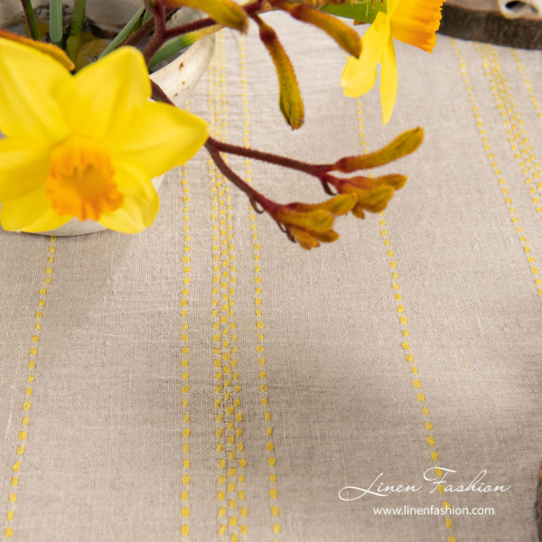 Washed linen tablecloth for Easter table