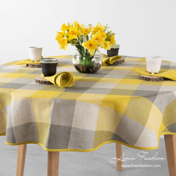 Oval linen blend tablecloth in large yellow grey checks - Linen Fashion.