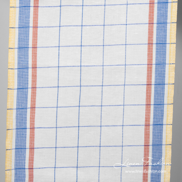 Linen blend toweling fabric with checks