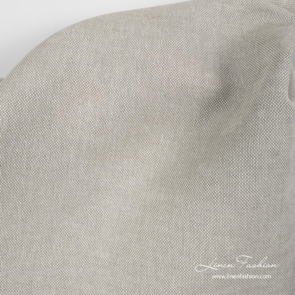 Linen blend fabric from white cotton and grayish brown linen yarns