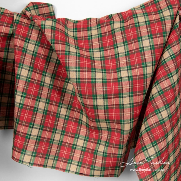 Linen cotton fabric with checks - sold by the yard or meter