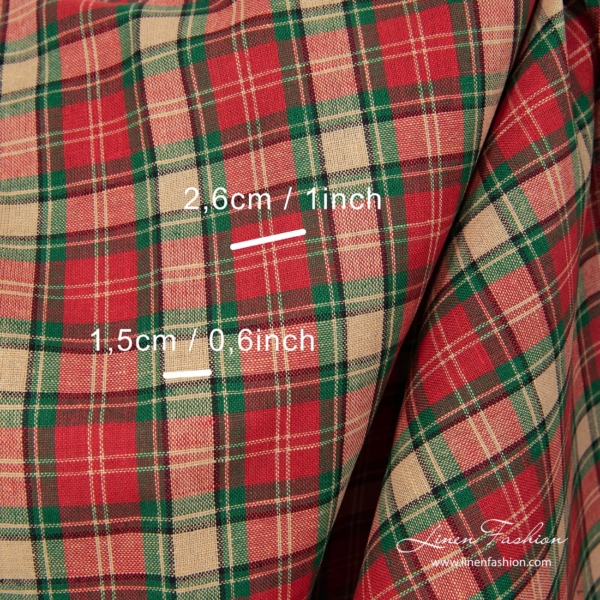 Linen blend fabric with checks (size in cm & in)