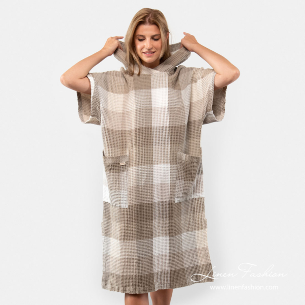 Unisex linen poncho towel with short sleeves