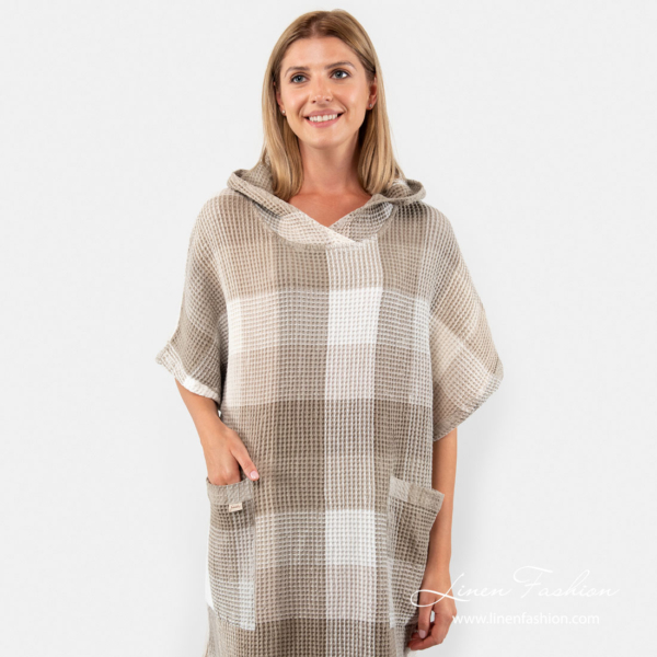 Poncho towel sewn from waffle pattern linen cotton fabric