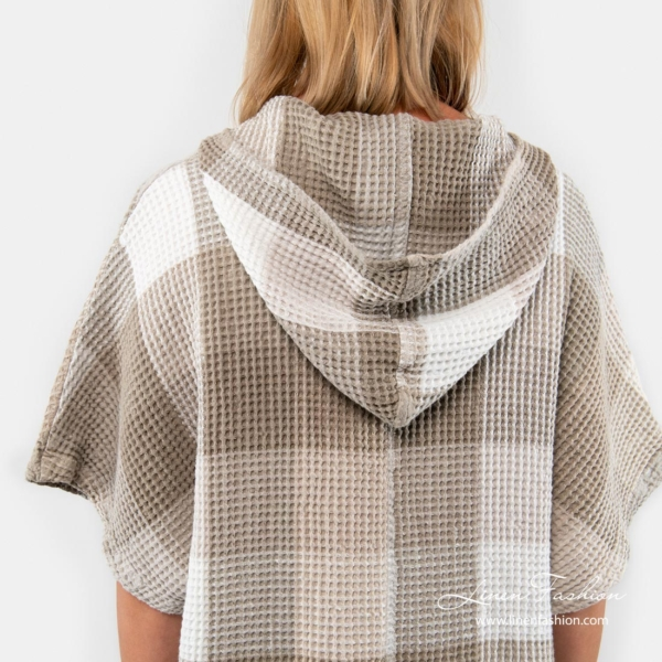 Linen poncho towel with hood