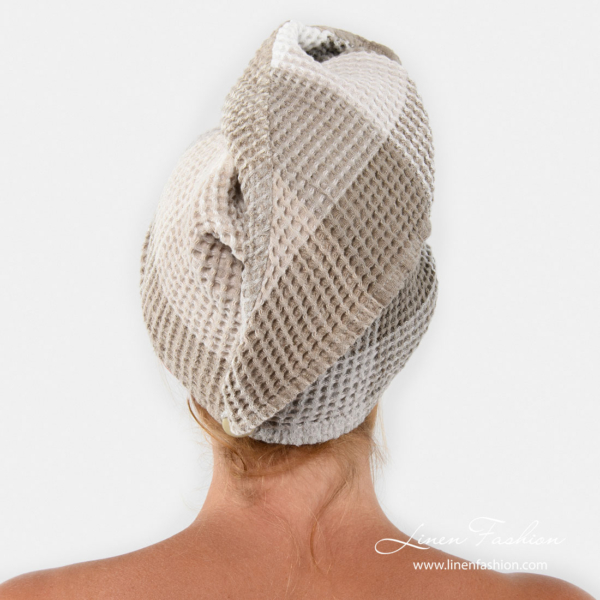 Linen hair towel turban with checks, button on the back
