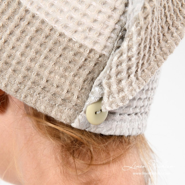 Linen hair towel turban with a button