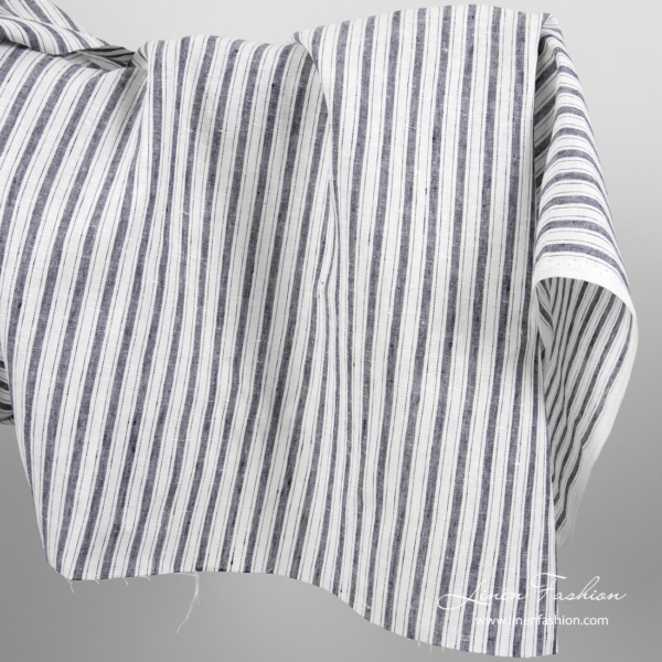 Linen fabric with blue & white stripes