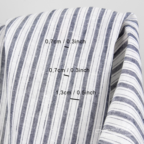 Stripes' width in cm & inches | 100% linen fabric