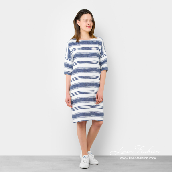 Knee-length linen dress with stripes