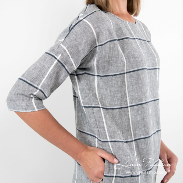 Grey linen dress with side pockets