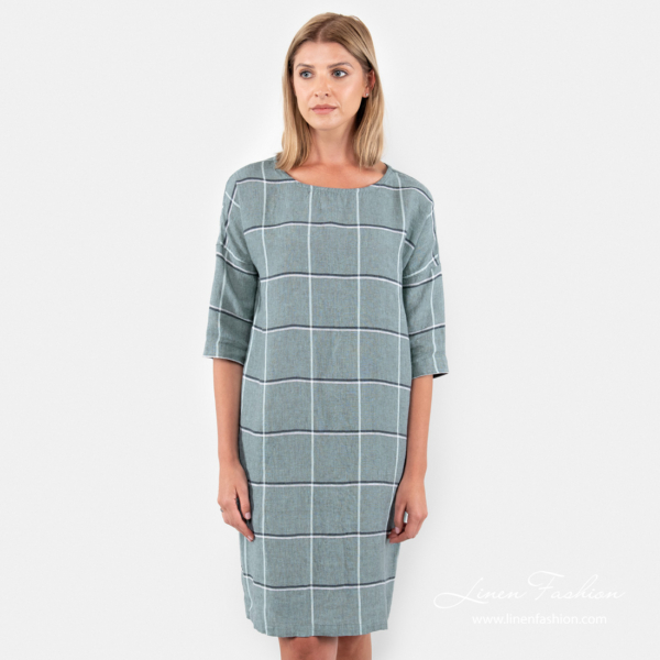 Checked linen dress in greenish color