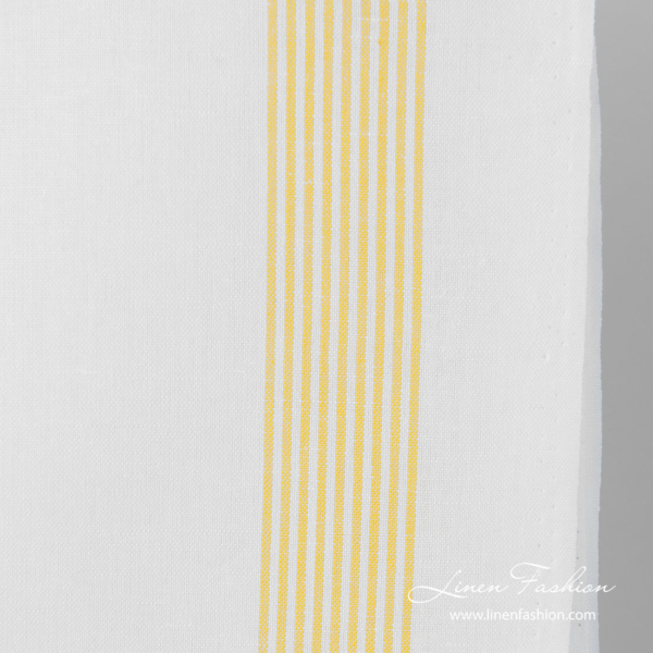 White linen cotton narrow striped fabric