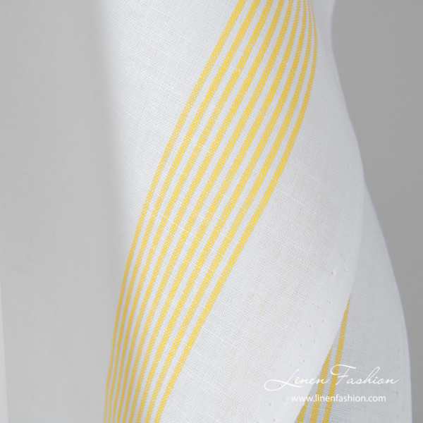 White linen cotton fabric with thin yellow stripes