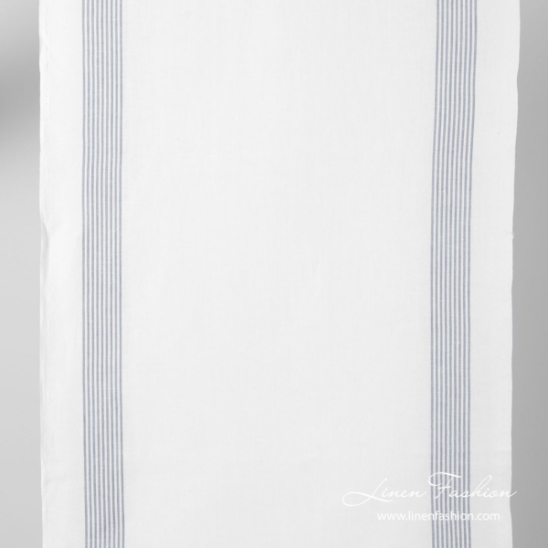 White narrow linen blend fabric with grey stripes