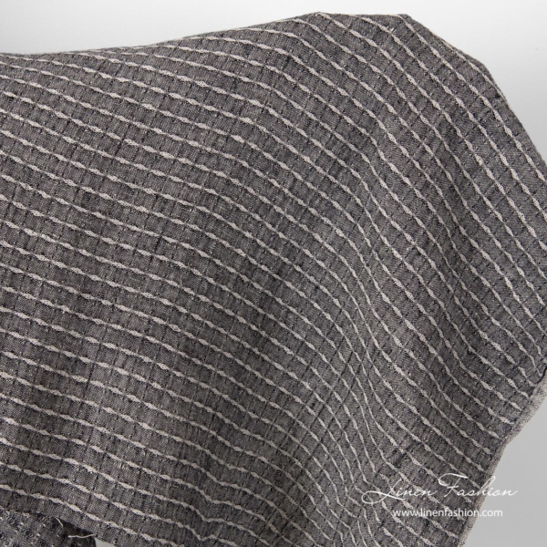 Linen, black patterned fabric, washed