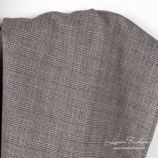 Linen fabric for clothing in black natural checks