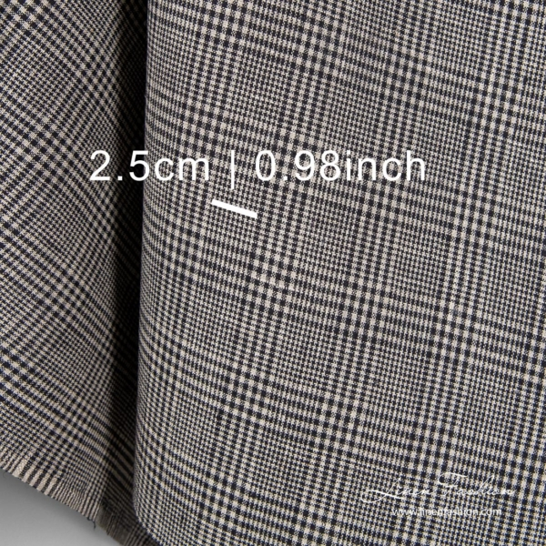 Checked linen fabric with measurements