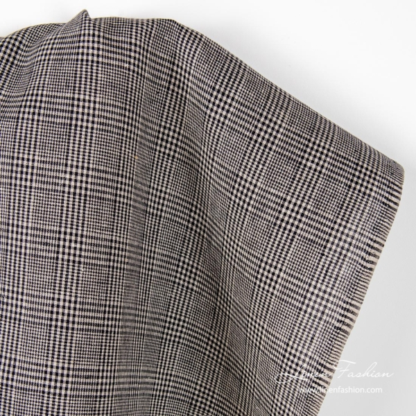 Pure linen fabric with black/natural checks