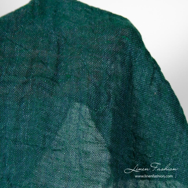 Washed linen fabric in blue green colours
