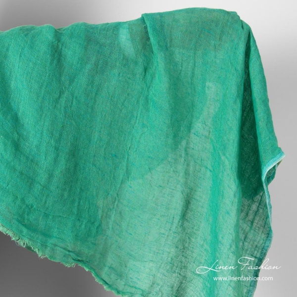 Pure linen green gauze fabric, washed