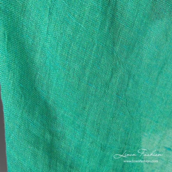 Washed linen fabric, green color melange