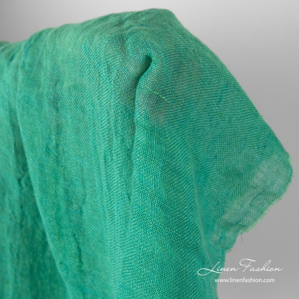 Washed gauze linen fabric in green color