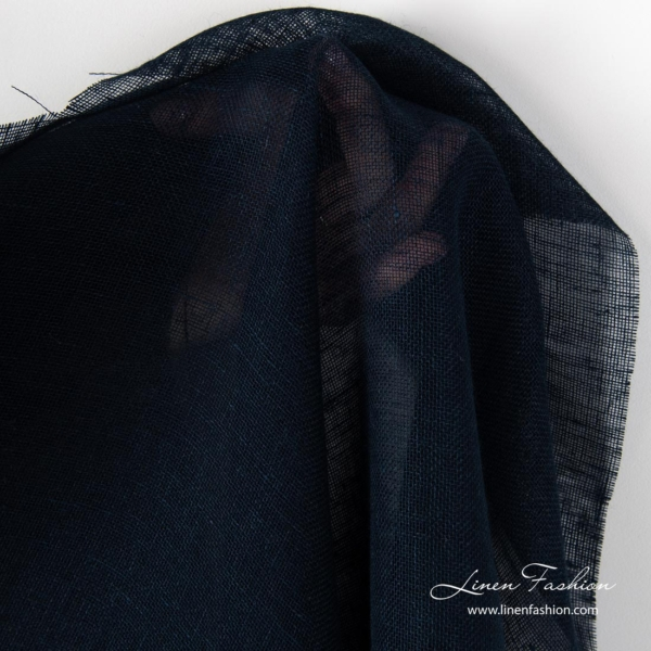 Pure linen navy gauze fabric