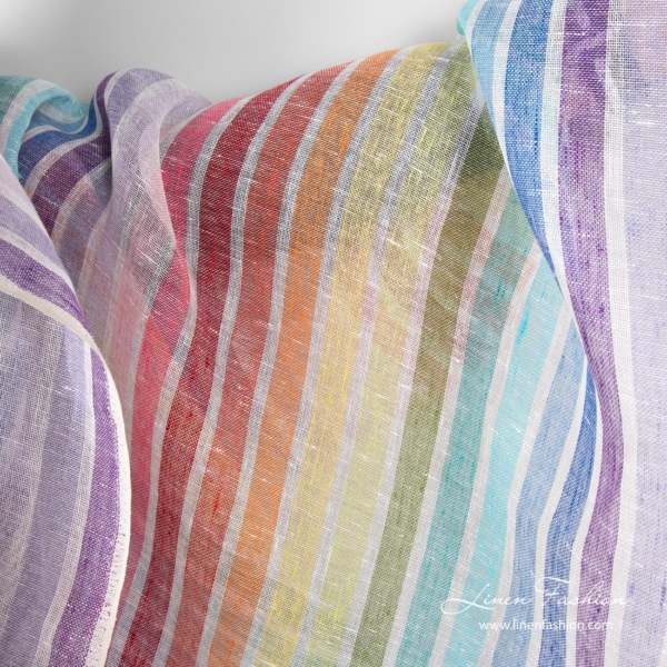Transparent 100% linen fabric with rainbow stripes