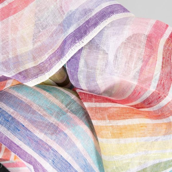 Rainbow striped linen fabric for curtains, shawls