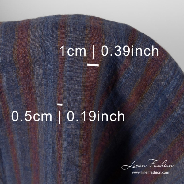 Washed striped linen fabric with measures