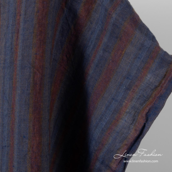 Washed linen fabric with grey, blue, brown stripes