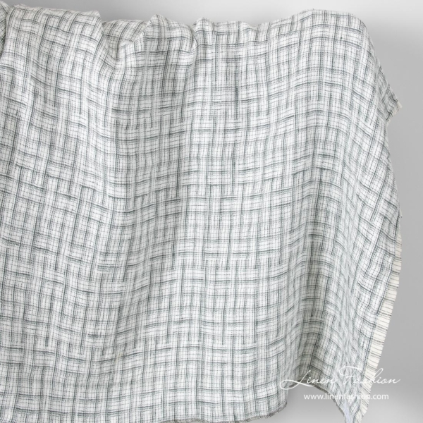 Jacquard pattern linen fabric with grey stripes, washed