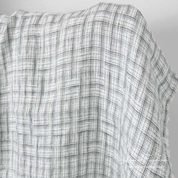 White linen fabric with crossing grey stripes, washed