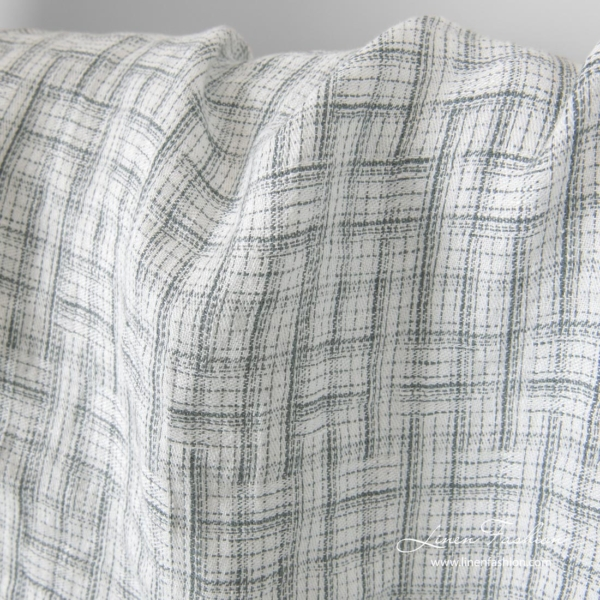 Washed white linen fabric with grey stripes