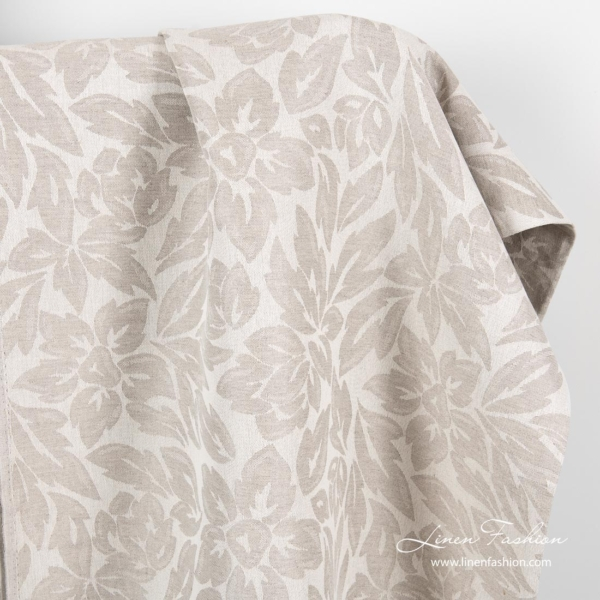 Linen cotton jacquard fabric with flowers